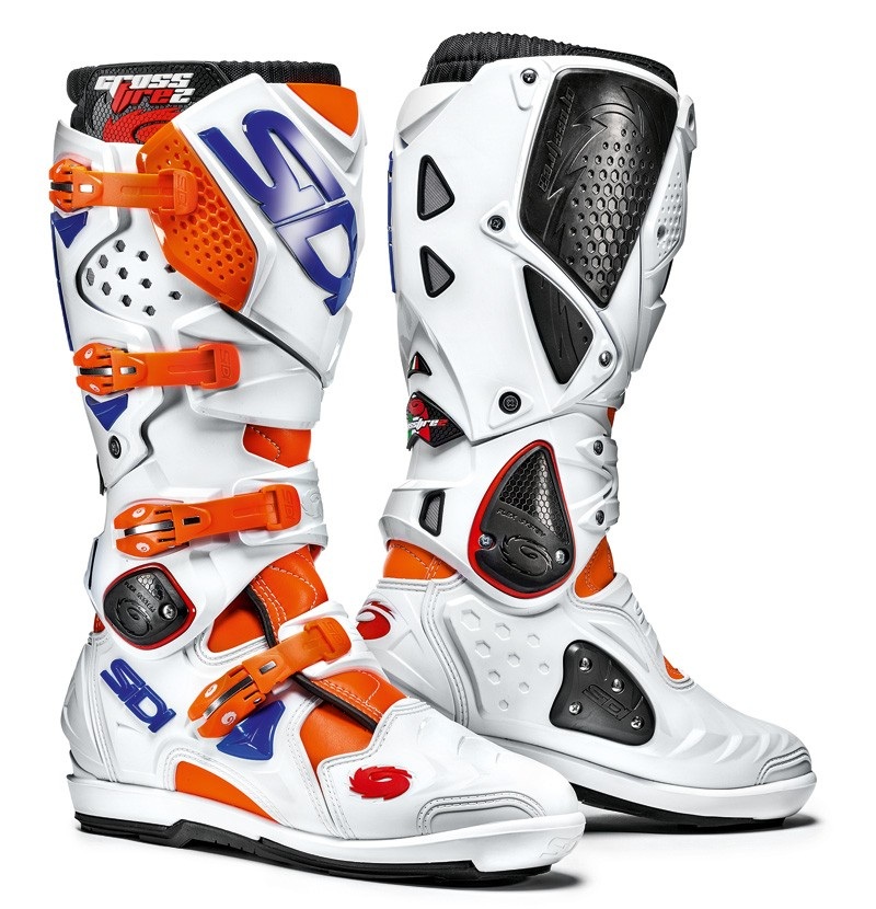 Sidi Crossfire 2 SRS bottes Supermotard, blanche-orange-bleu