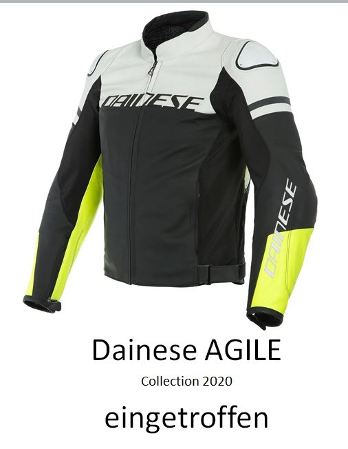 Dainese Lederjacke Agile, schwarz-weiss matt-fluo gelb