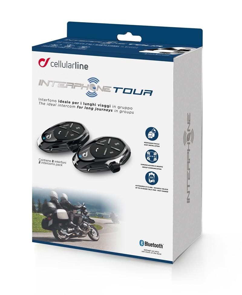 Interphone Tour  Kommunikationssystem Bluetooth (Doppelpack für 2 Helme)