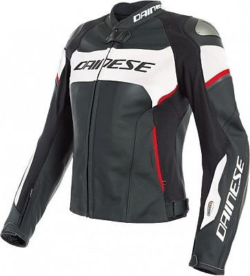 Dainese Airbag-Damen-Lederjacke  Racing 3 D-Air, schwarz-weiss-lavarot