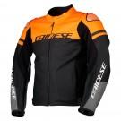Dainese Lederjacke Agile, schwarz-orange-grau