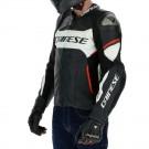 Dainese Airbag-Lederjacke  Racing 3 D-Air, schwarz-weiss-lavarot