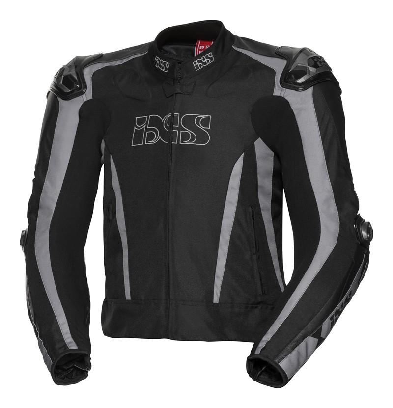 IXS Blouson Sport LT RS-1000- mix cuir-textil, noir-gris