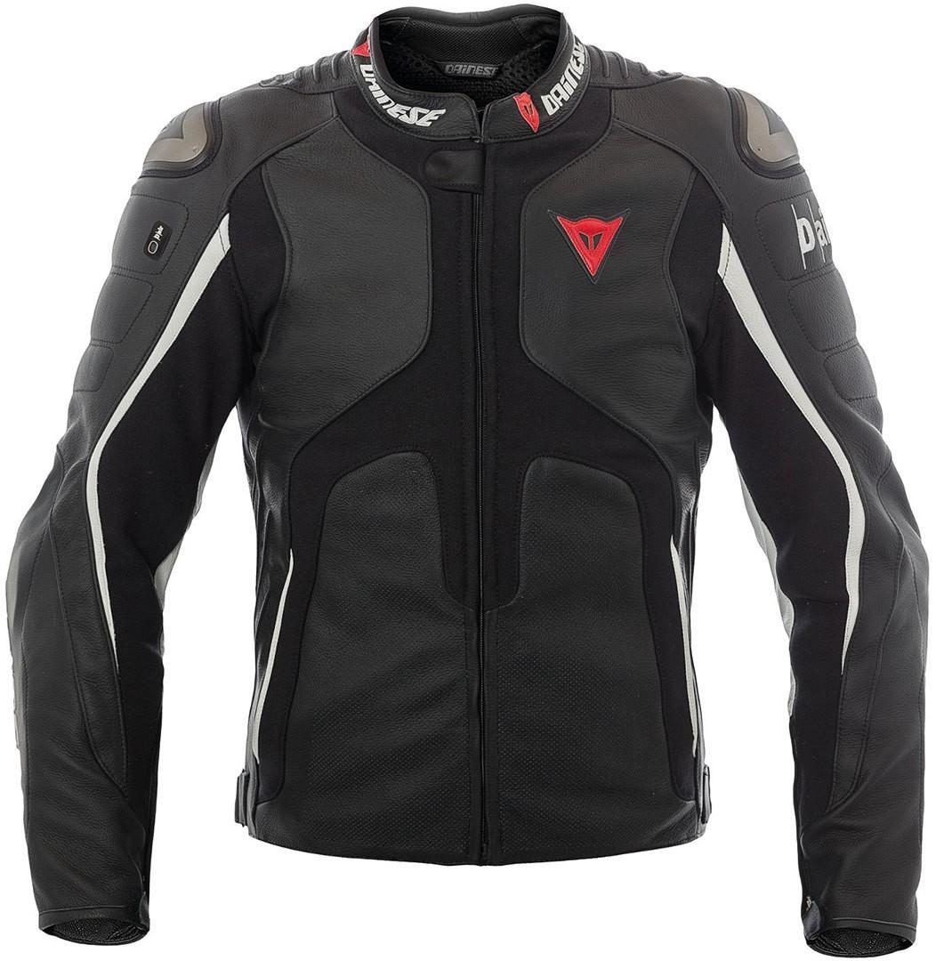 Dainese Airbag- veste en cuir D-Air Tuono, noir matt - blanche