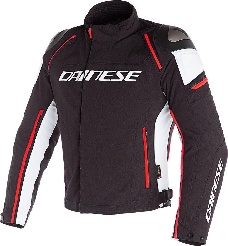 Dainese blouson textile, Racing 3, D-Dry, noir-blanc-.rouge fluo