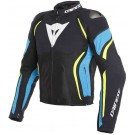Dainese veste d'éte sport, Estrema Air Tex, noir-bleu-jaune fluo